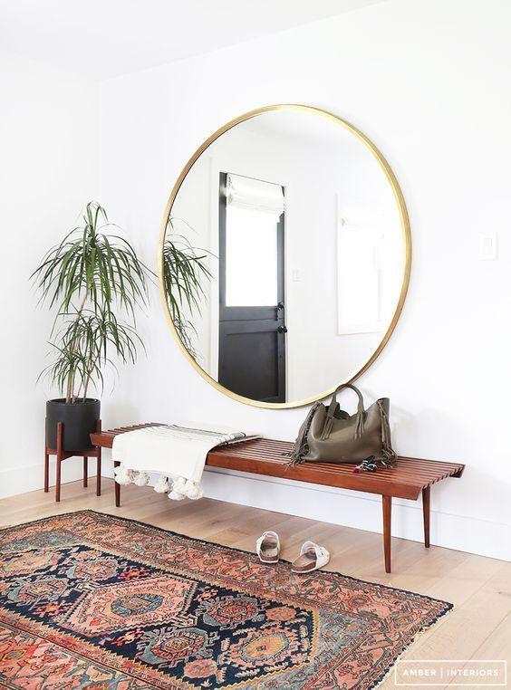 miroir rond banc