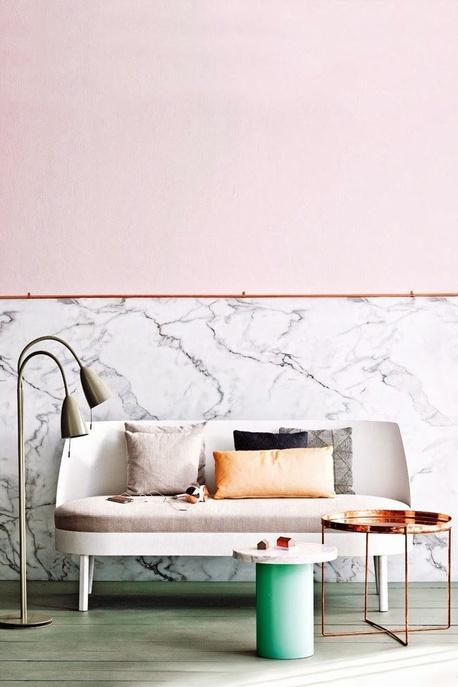 rose poudre deco marbre