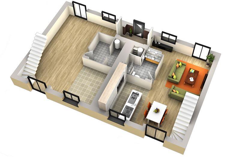 Plan maison de ville mitoyenne floor plan for two bedroom - Plan de maison mitoyenne ...
