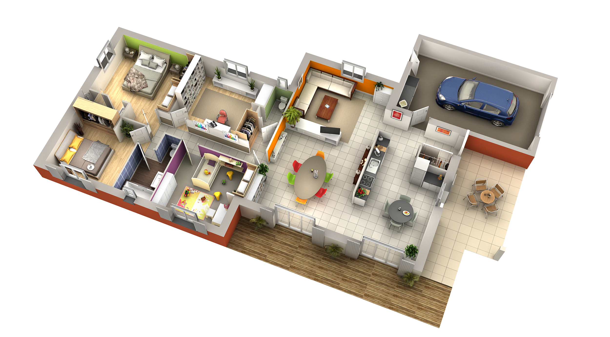 Plan maison contemporaine aneth tuiles rouge villas club for Plan 3d amenagement interieur