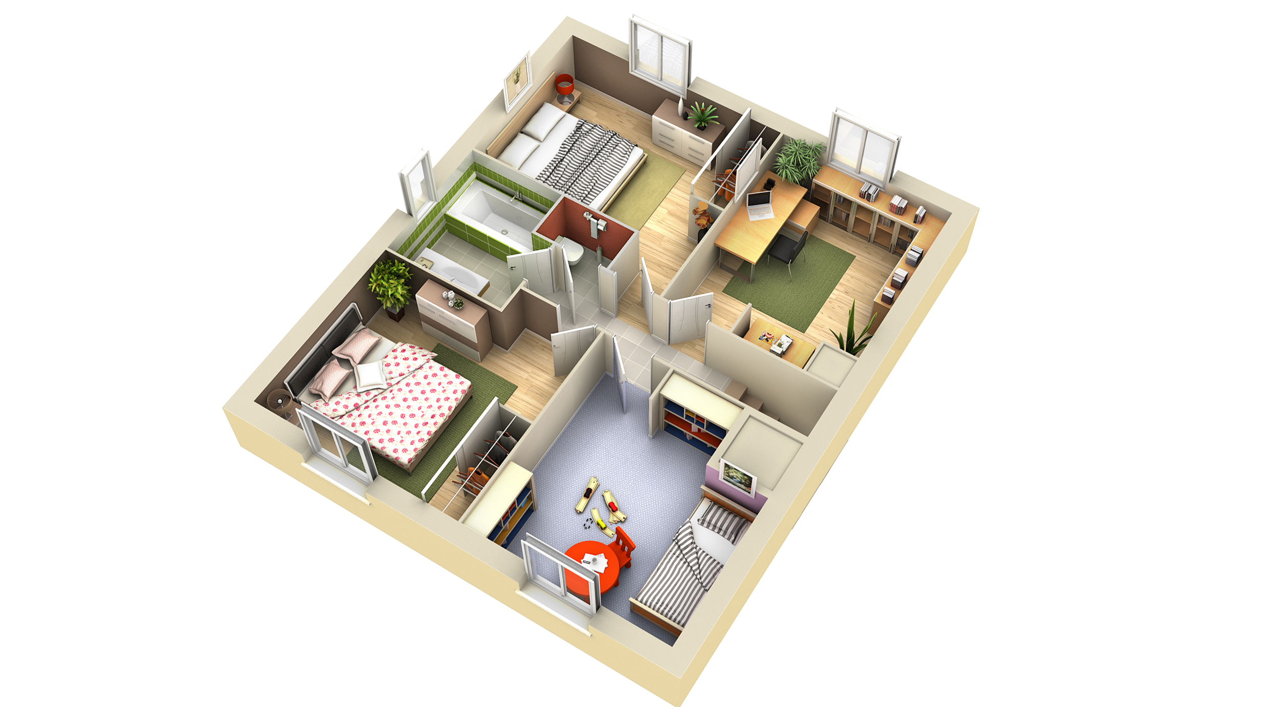 plan maison contemporaine carambole villas club. Black Bedroom Furniture Sets. Home Design Ideas