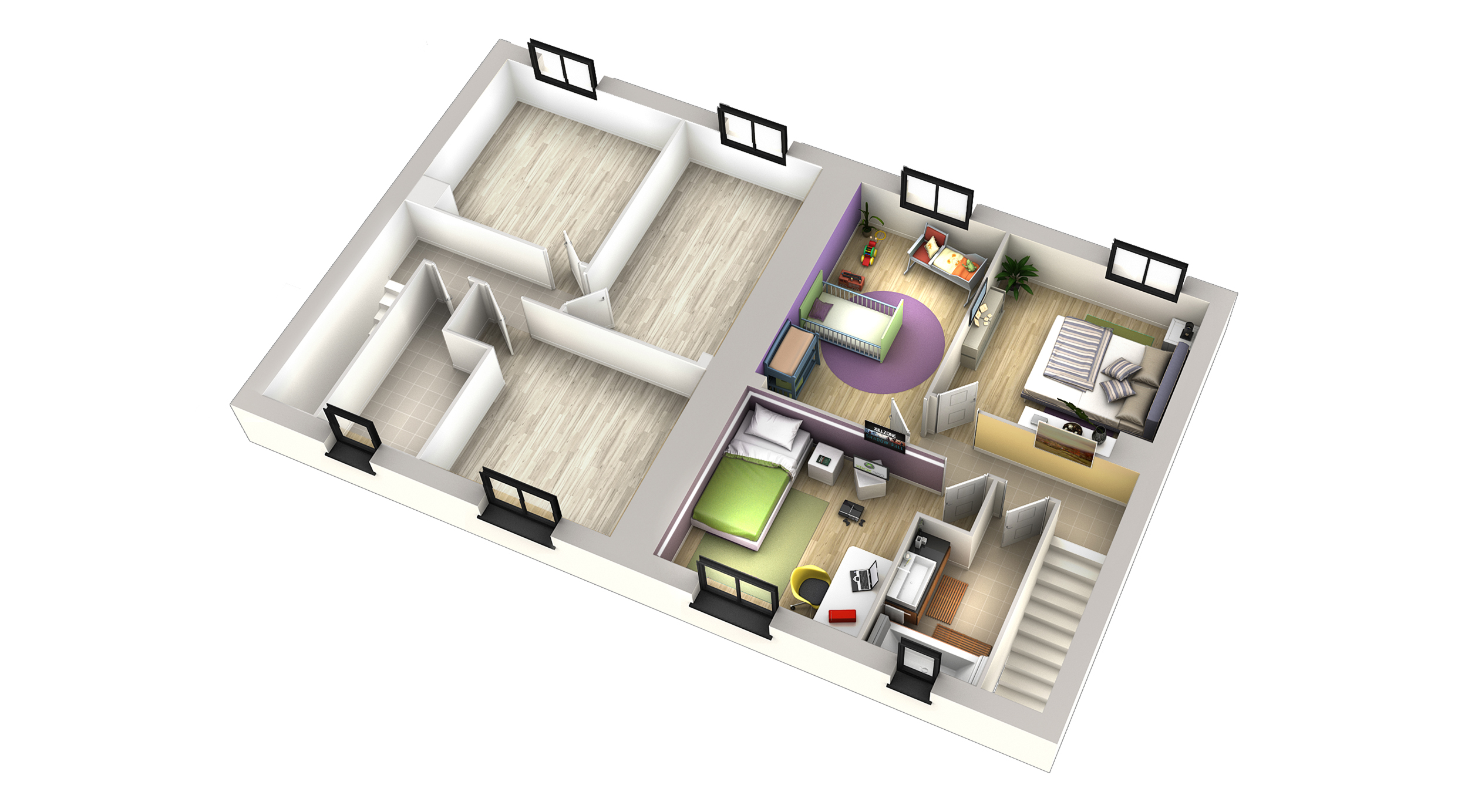 Plan maison contemporaine cumbava genoise villas club for Plan interieur maison en d