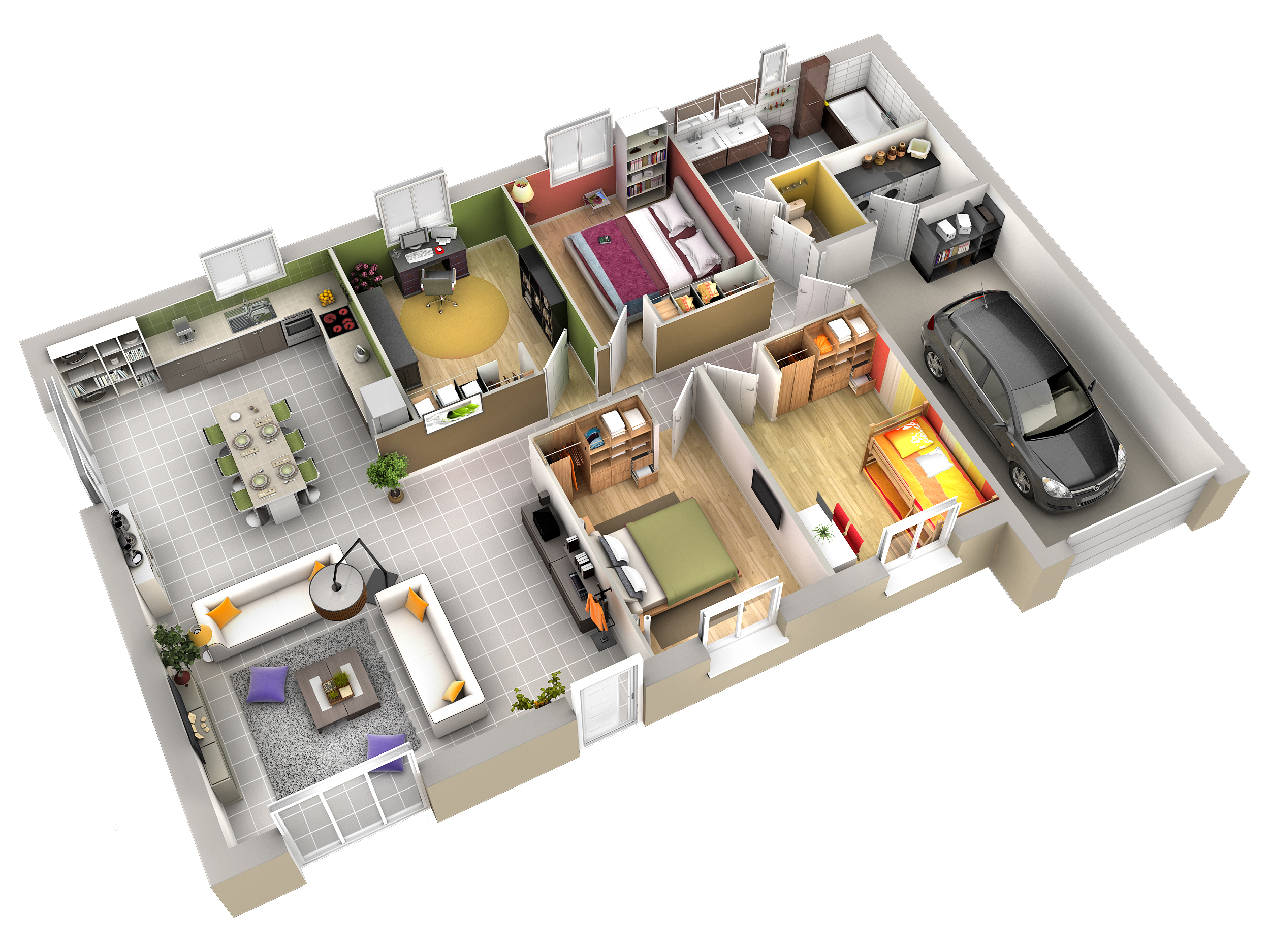 Plan maison contemporaine cumin ardoise villas club for Plan maison interieur 3d