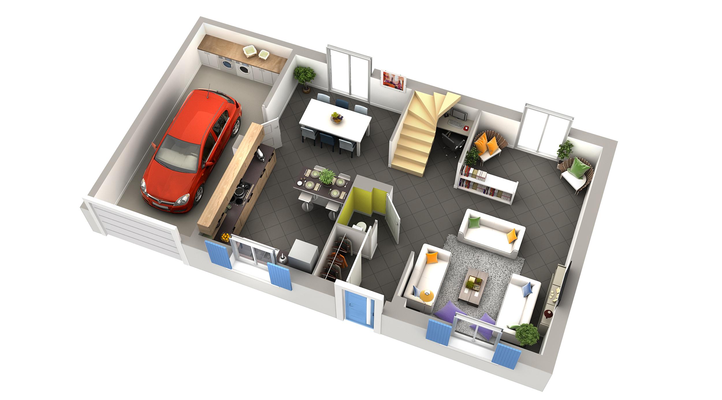 Plan maison contemporaine curcuma ardoise villas club for Maison plain pied style americain