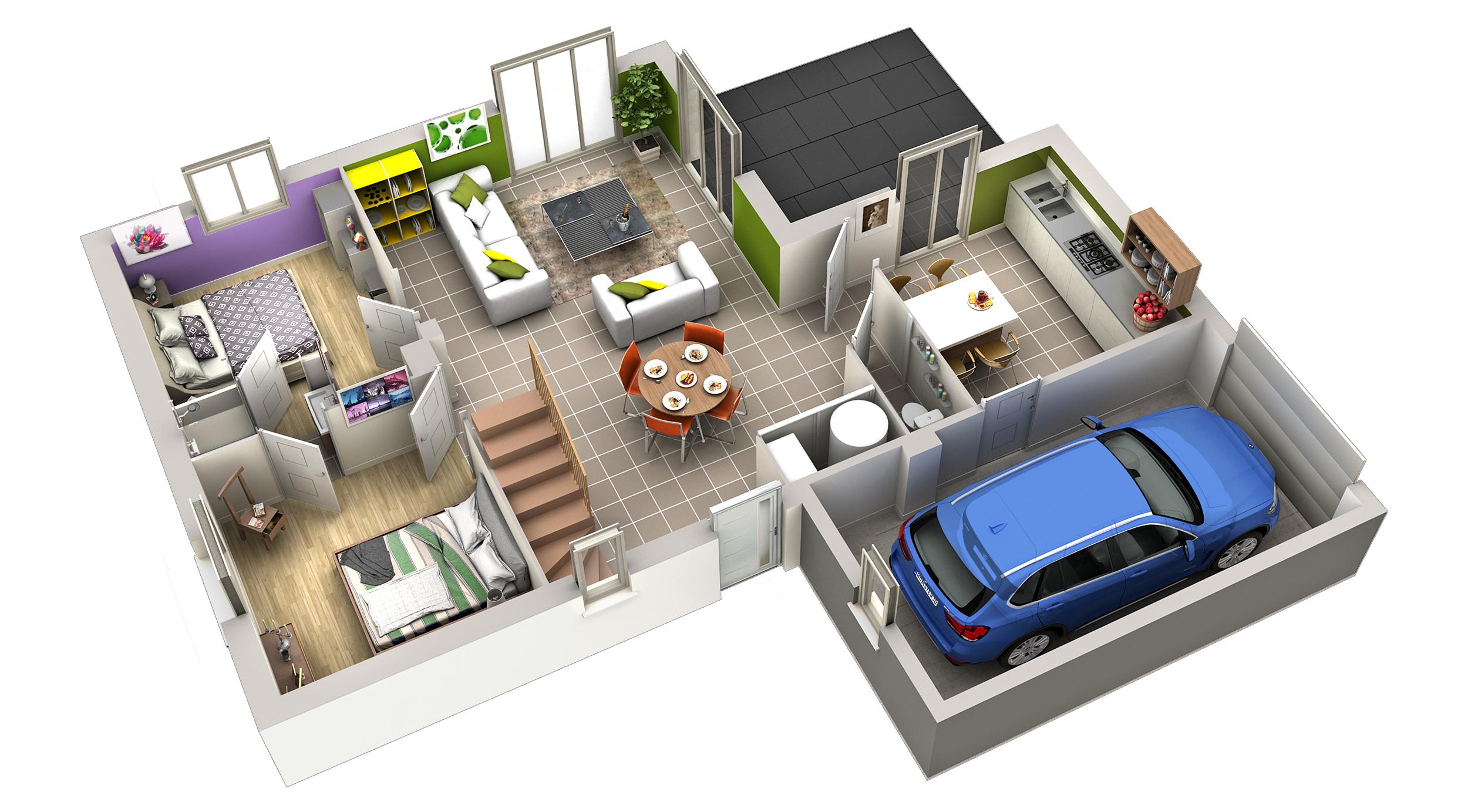 Plan maison contemporaine grenade terre de soleil villas club for Organisation interieur maison