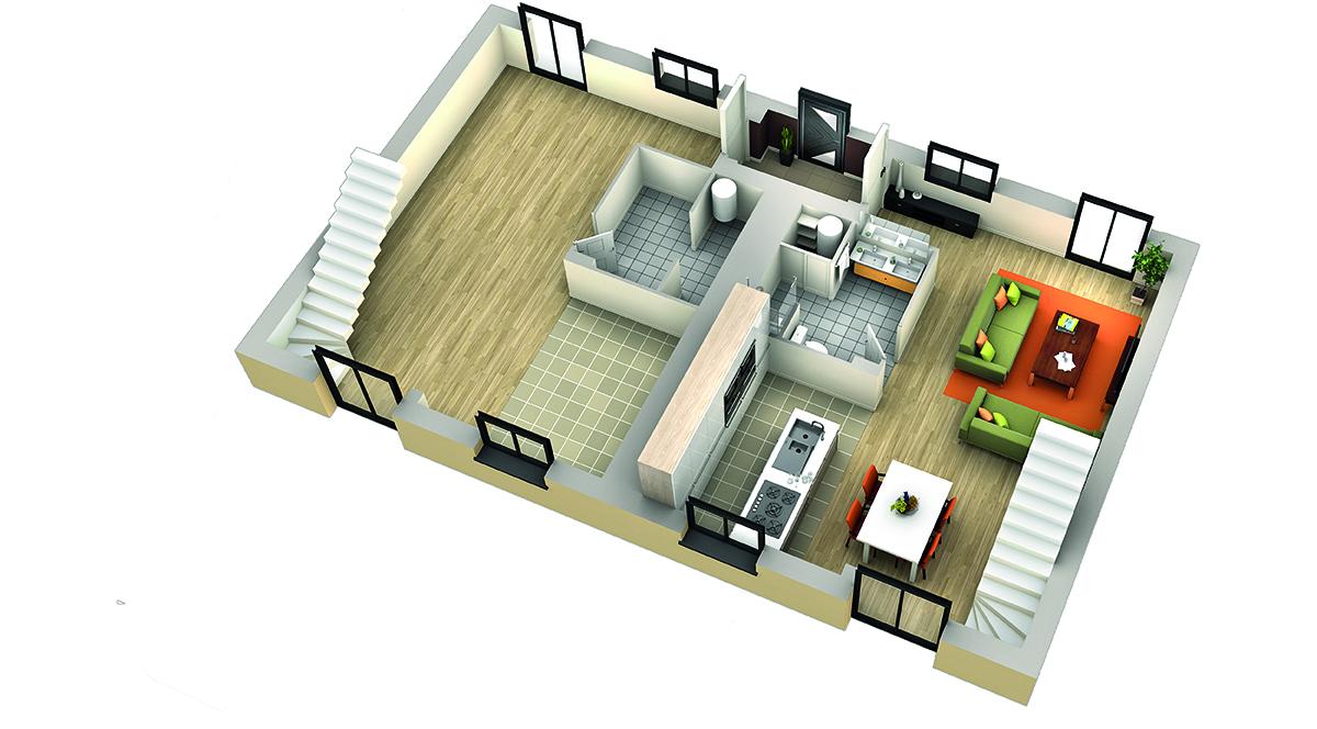 Plan maison contemporaine cumbava genoise villas club for Organisation interieur maison