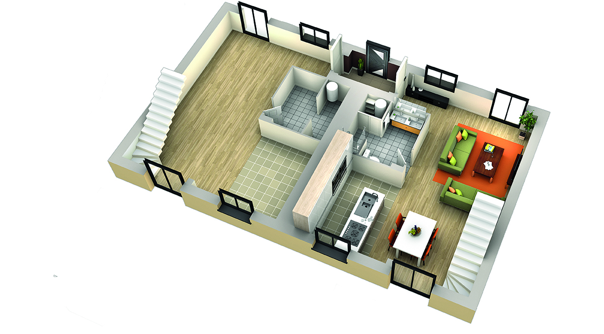 Plan interieur maison 3d maison moderne for Plan interieur de maison
