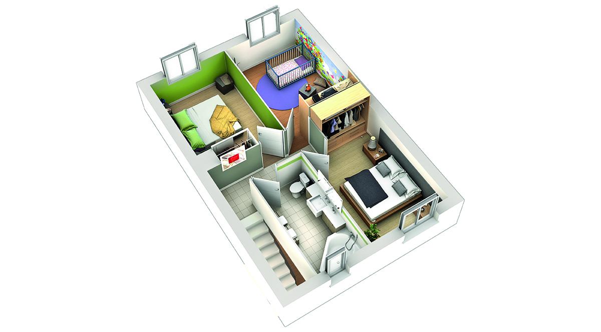 Plan maison contemporaine goyave terre de soleil villas club for Modele plan maison etage