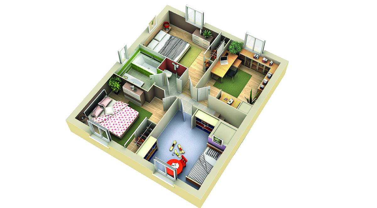 Plan maison contemporaine mod le nefle tuiles rouges - Plan maison 2 niveaux ...