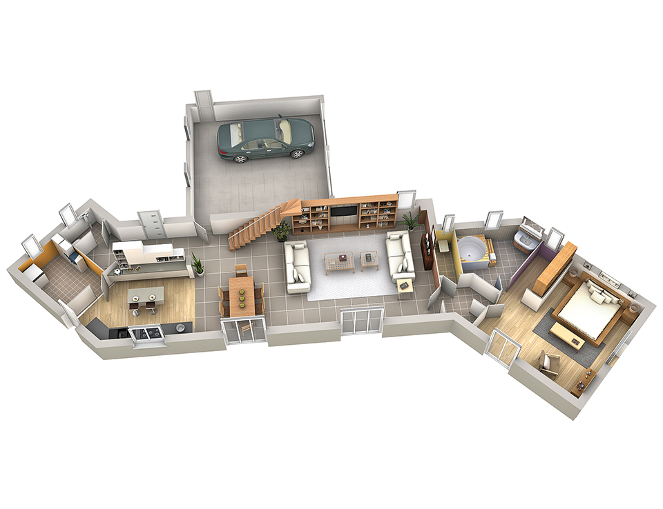 Plan maison contemporaine safran villas club for Modele de maison interieur