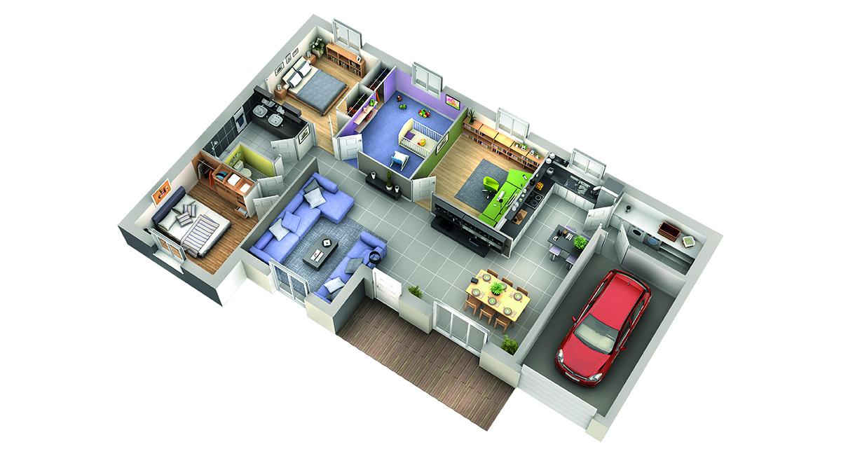 plan maison contemporaine mod le tamarin tuiles rouges. Black Bedroom Furniture Sets. Home Design Ideas