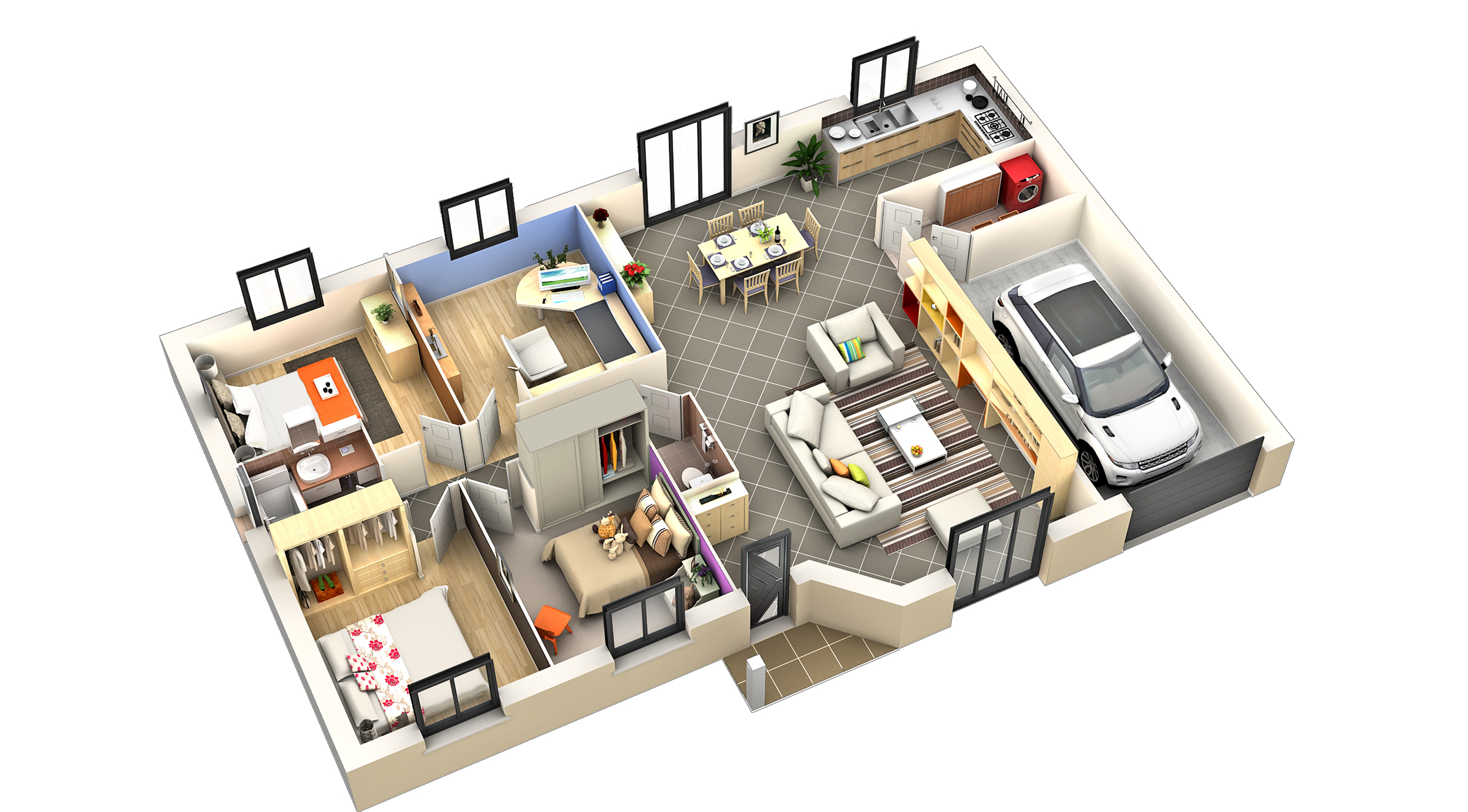 Model maison interieur - Plan de loft moderne ...
