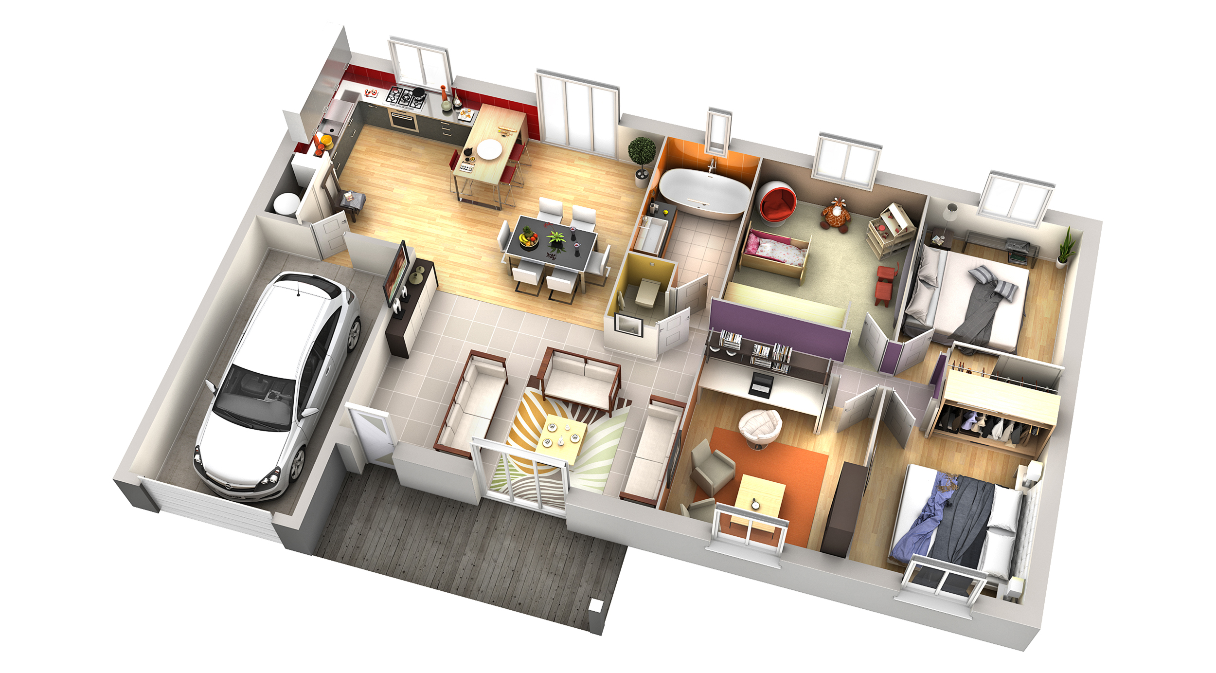 Plan maison contemporaine romarin terre de soleil villas club for Plan 3d amenagement interieur