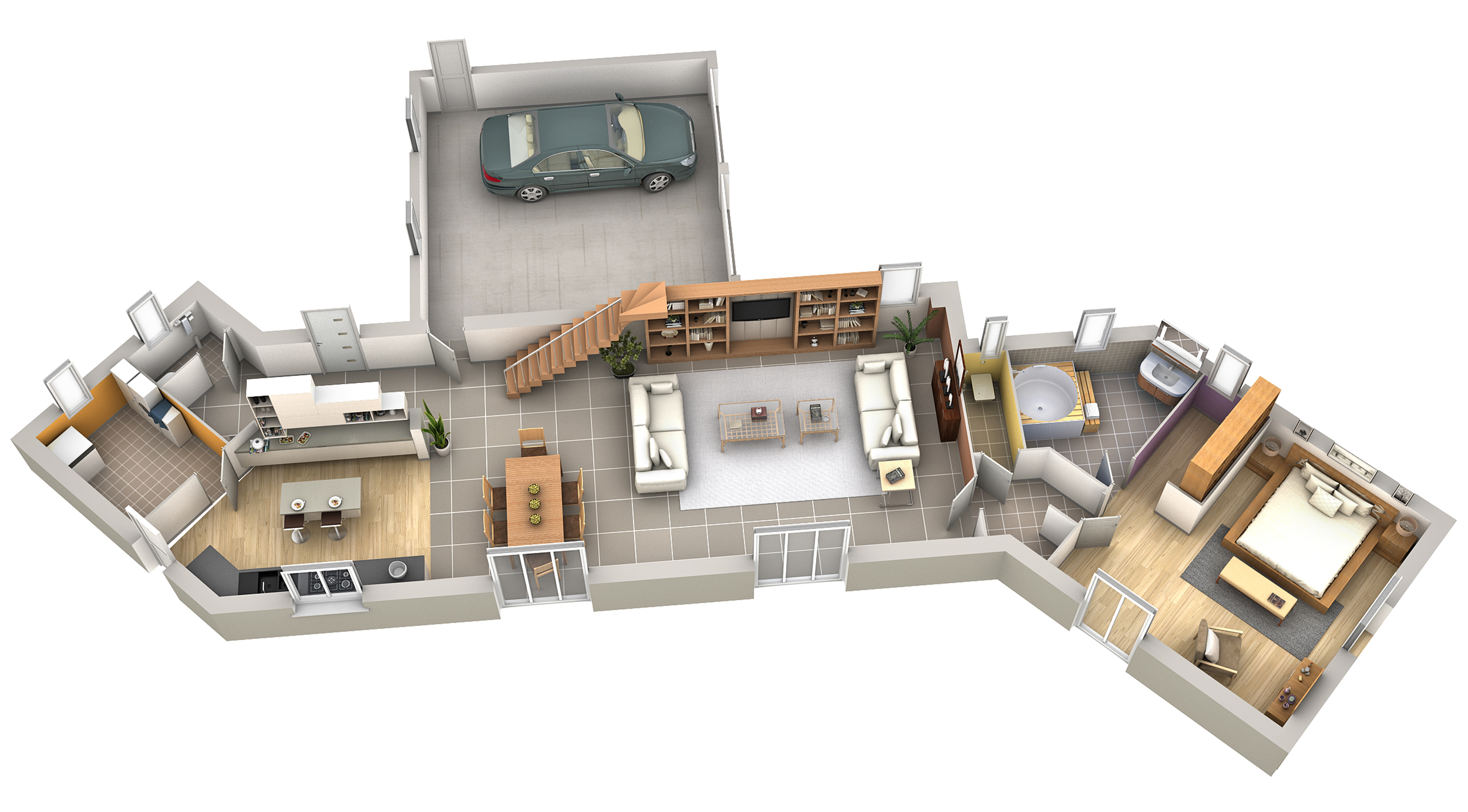 Plan maison contemporaine safran villas club for Plan interieur de maison moderne
