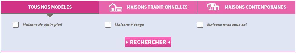 menu de navigation page modèles de maison Villas Club
