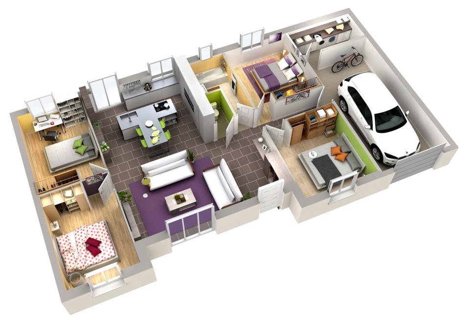 Plan intérieur de maison plain-pied Acerola - Villas Club