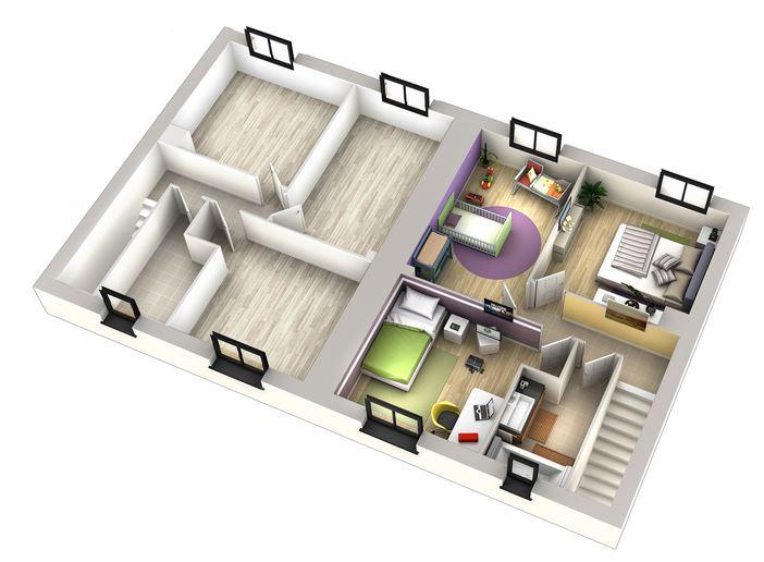 plan étage d'une maison mitoyenne Villas Club