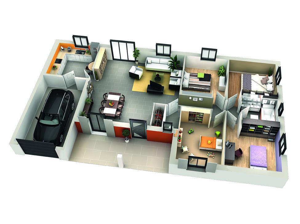Plan Maison Contemporaine, modèle CARVI Génoise |Villas Club