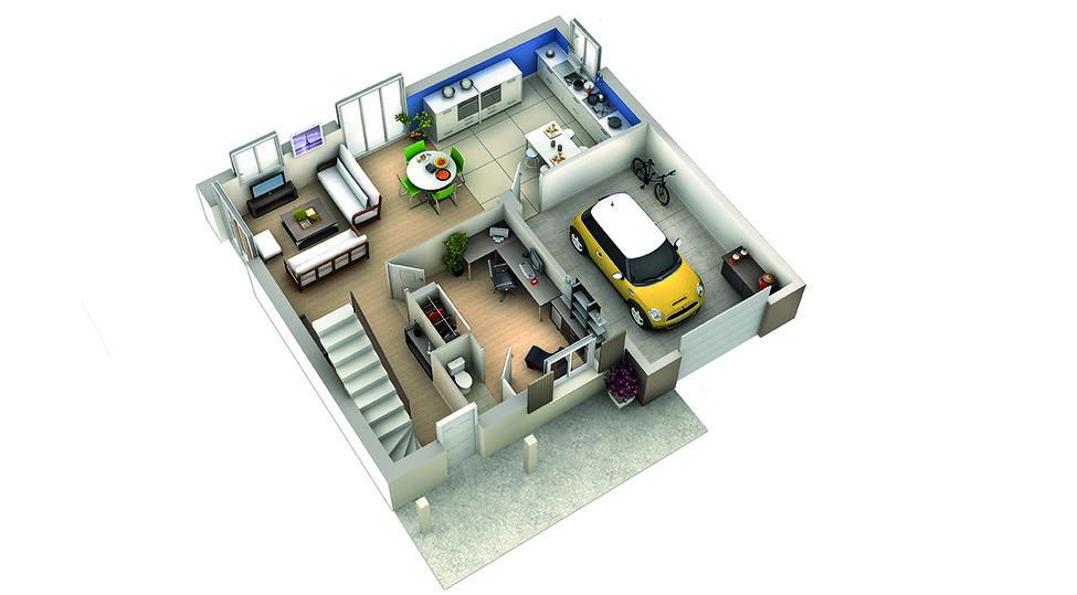 modele de maison goyave plan rdc