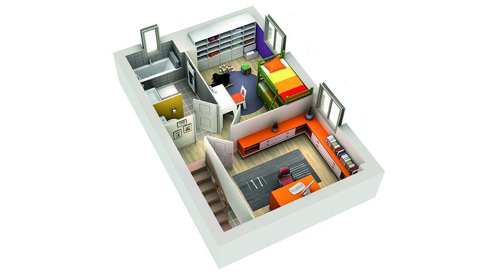 modele de maison grenade plan 3d etage 1