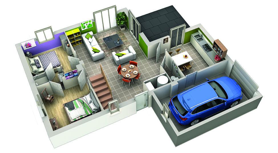 modele de maison grenade plan 3d rdc 2