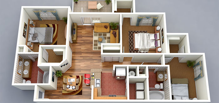 3d floor plan 3bedroom